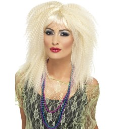 80s Trademark Crimp Wig, Blonde