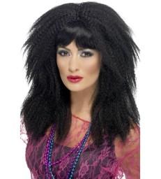 80s Trademark Crimp Wig, Black