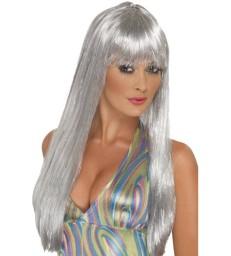 Glitter Disco Wig, Silver