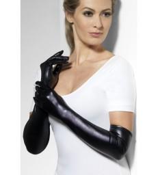 Gloves, Wet Look, Black