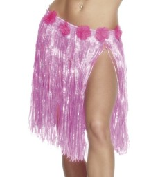 Hawaiian Hula Skirt, Neon Pink