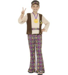 Hippie Boy Costume, with Top, Attached Waistcoat,