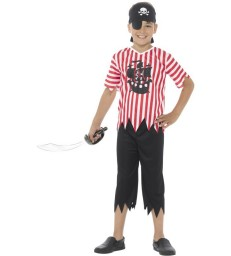 Jolly Pirate Boy Costume, Red & White