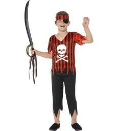 Jolly Roger Pirate Costume, Red