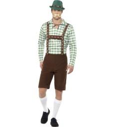 Alpine Bavarian Costume, Green & Brown