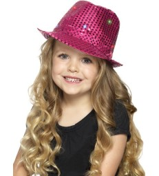Light Up Sequin Trilby Hat, Pink