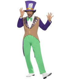 Mad Hatter Costume, Adult, Green & Brown