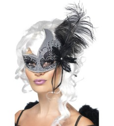 Masquerade Dark Angel Eyemask, Silver & Black