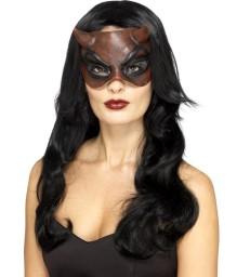 Masquerade Devil Mask, Latex, Red