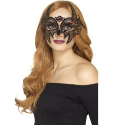 Metal Filigree Devil Eyemask, Black & Red