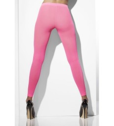 Opaque Footless Tights, Neon Pink