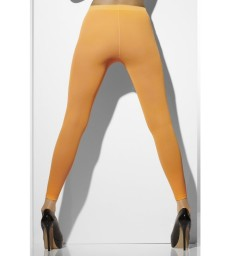 Opaque Footless Tights, Neon Orange