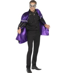 Phantom Masquerade Vampire Cape, Black & Purple
