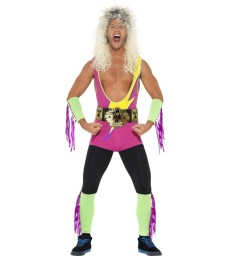 Retro Wrestler Costume, Multi-Coloured