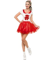 Sandy Cheerleader Costume, Red & White
