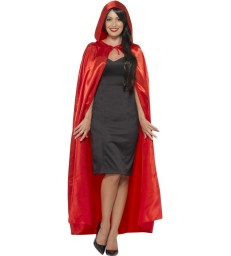 Satin Hooded Cape, Red