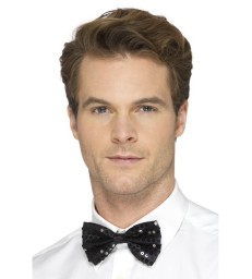 Sequin Bow Tie, Black