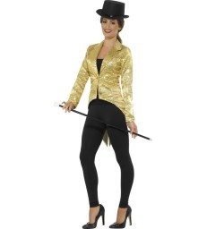 Sequin Tailcoat Jacket, Ladies, Gold