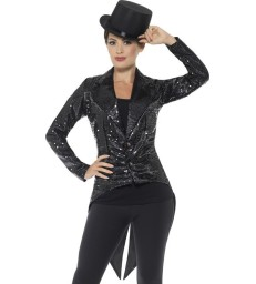 Sequin Tailcoat Jacket, Ladies, Black