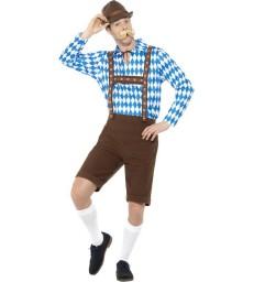 Bavarian Beer Man Costume, Blue & Brown