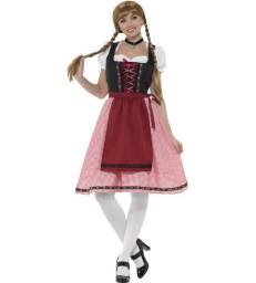 Bavarian Tavern Maid Costume, Red & Black
