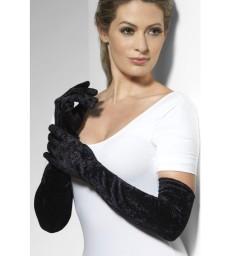 Velveteen Gloves, Black
