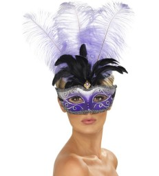Venetian Colombina Eyemask with Multicolour Plume,