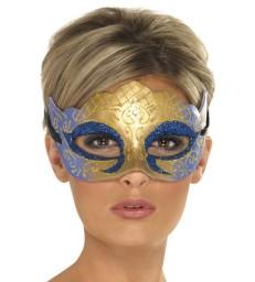 Venetian Colombina Farfalla Glitter Mask, Gold
