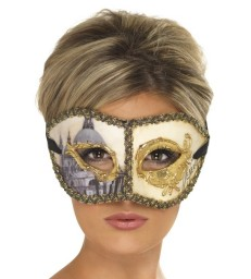 Venetian Colombina Venice Mask, Gold