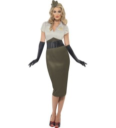 WW2 Army Pin Up Spice Darling Costume, Green