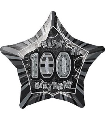 "20"" PKG BLACK STAR PRISM 100 FOIL BALLOON"