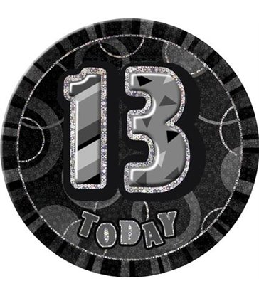 "BLACK/SILVER GLITZ 6"" BADGE - 13"