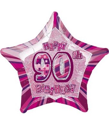 "20"" PKG PINK STAR PRISM 90 FOIL BALLOON"