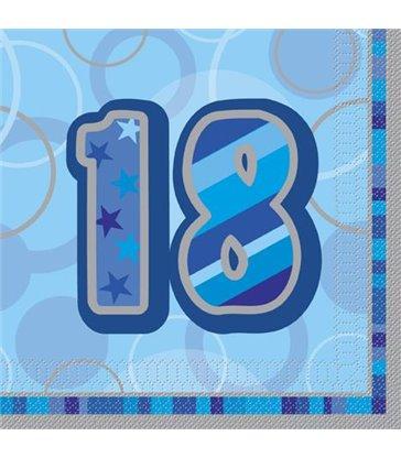 16 BLUE GLITZ LUNCH NAPKINS -18