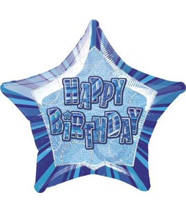20'' PKG BLUE STAR PRISM HB FOIL BALLOON