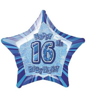 20'' PKG BLUE STAR PRISM 16 FOIL BALLOON