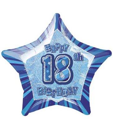 20'' PKG BLUE STAR PRISM 18 FOIL BALLOON