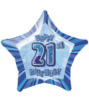 20'' PKG BLUE STAR PRISM 21 FOIL BALLOON