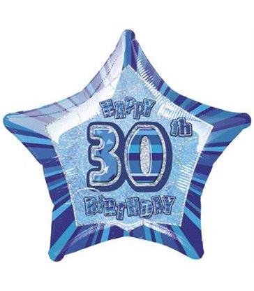 20'' PKG BLUE STAR PRISM 30 FOIL BALLOON