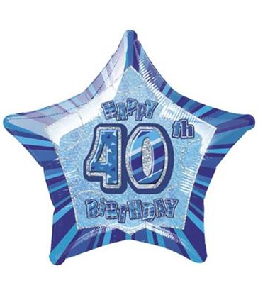 20'' PKG BLUE STAR PRISM 40 FOIL BALLOON