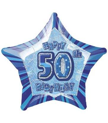 20'' PKG BLUE STAR PRISM 50 FOIL BALLOON