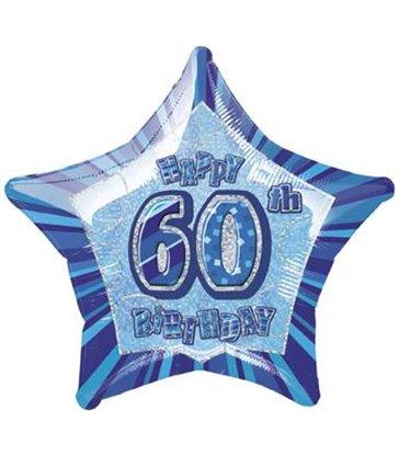 20'' PKG BLUE STAR PRISM 60 FOIL BALLOON