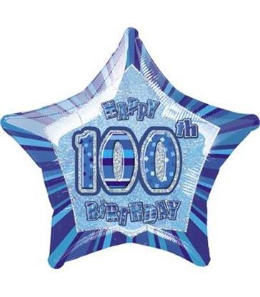 "20"" PKG BLUE STAR PRISM 100 FOIL BALLOON"