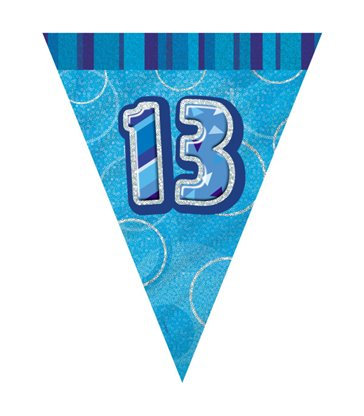 BLUE GLITZ 13 FLAG BANNER-9FT