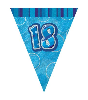 BLUE GLITZ 18 FLAG BANNER 9FT