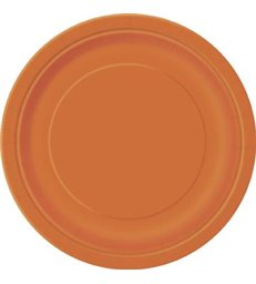 "16 PUMPKIN ORANGE 9"" PLATES"