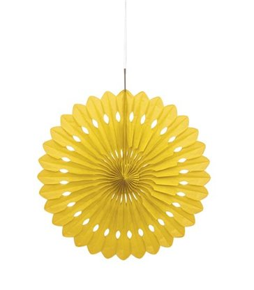 "DECORATIVE FAN 16"" YELLOW"