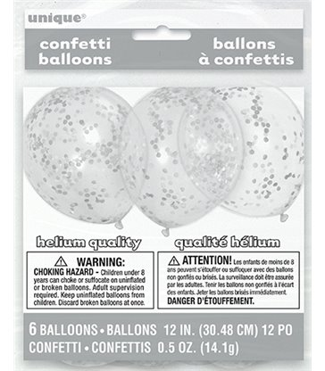"""6 CLR 12"""" BALLOON W/SILVER CONFETTI"""