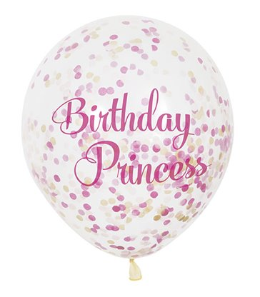 "6 CLR 12"" PRINCESS BIRTHDAY BALLOONS W/CNF"