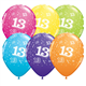 """Age 13 Pack of 6 11"""" assorted coloured balloons"""